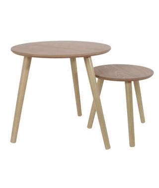 Lot de 2 Tables gigognes rondes en bois - L 48 x P 48 x H 45 cm