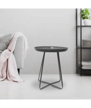 Bout de canapé plateau rond - Gris glossy - L 40 x P 40 x H 48,5 cm