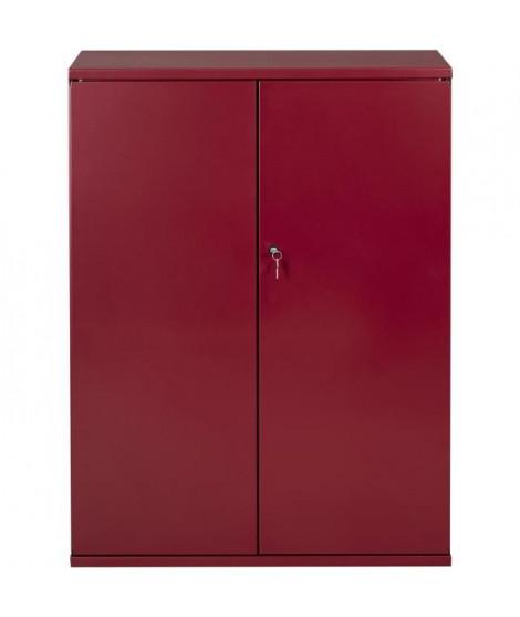 PIERRE HENRY Armoire de bureau JOKER style industriel - Métal rouge rubis nacré - L 80 x H 105 cm