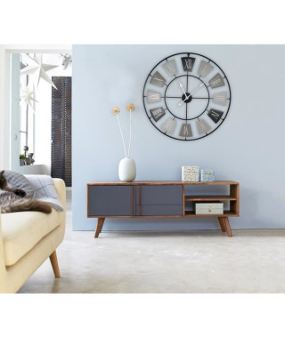 Grande horloge silencieuse en métal Gray Ø 76 cm - Piles incluses