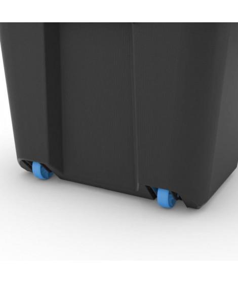 ABM Boîte de rangement - 80 L - Noir - Poignées ergonomiques - Joint étanche - Roulettes - Plateau - IP44