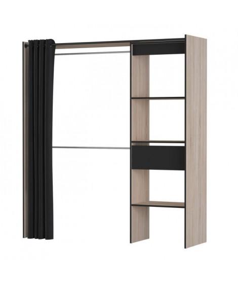 CHICAGO Kit placard extensible  - Décor chene et noir - L 168,2 x P 50 x H 187 cm