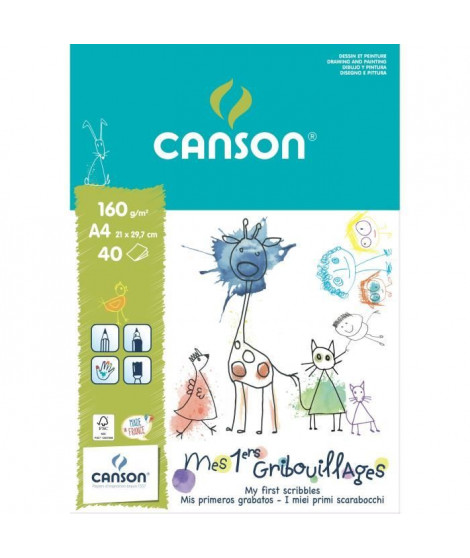 CANSON Bloc papier a dessin Mes 1ers Gribouillages 40 feuilles A4 - 160 g