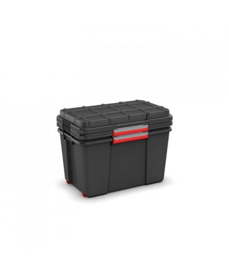 ABM Lot de 2 coffres malles Atlas - Taille XL - Noir - Capacité de charge de 80kg sur le couvercle - Superposables - Empilables