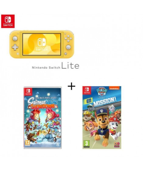 Console Switch Lite Jaune + Jeu Switch Scribblenauts+ Pat'Patrouille
