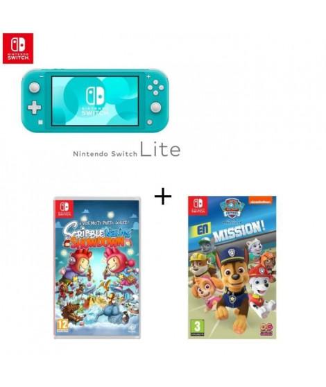 Console Switch Lite Turquoise + Jeu Switch Scribblenauts+ Pat'Patrouille