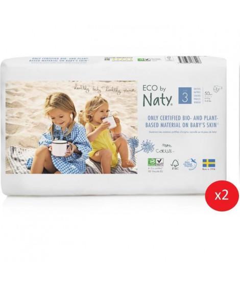 NATY - Lot de 2 paquets de couches Taille 3 Midi 4-9 kg 50 pcs