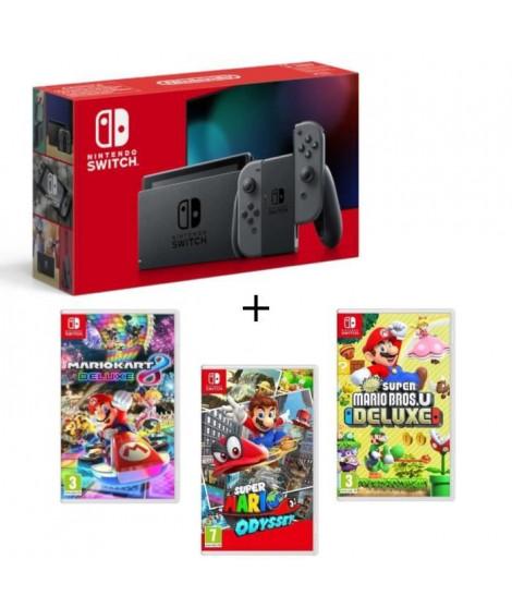 Pack Nintendo Switch Grise + New Sup.Mario BrosU Deluxe + Sup.Mario Odyssey + Mario Kart8 Deluxe