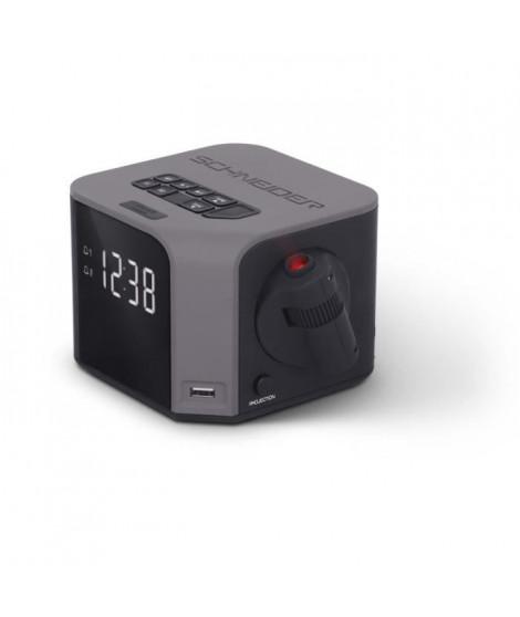 SCHNEIDER SC360ACLGRY Radio Réveil Double Alarme Projection USB Charge Luna - Gris
