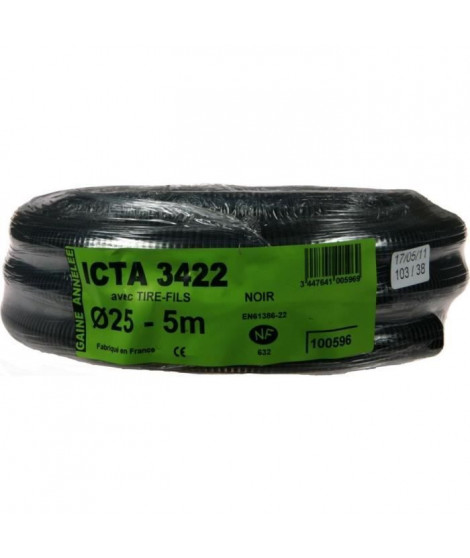JANOPLAST Gaine ICTA avec tire fil - Diametre 25 mm - 5 m