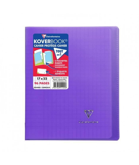 CLAIREFONTAINE Cahier Kover Book piqure avec rabats 170 x 220 - 96 Pages - 90 g - Violet
