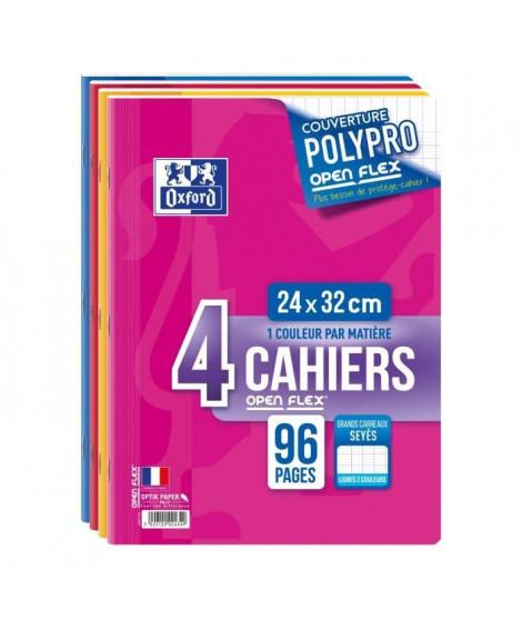 OXFORD Lot de 4 Cahiers openflex - A4 - 24x32cm - 96p