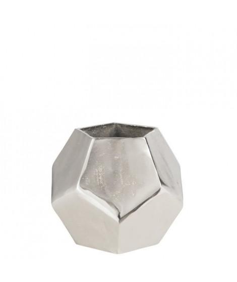 Vase poly brut alu nickel 19x19x19 cm