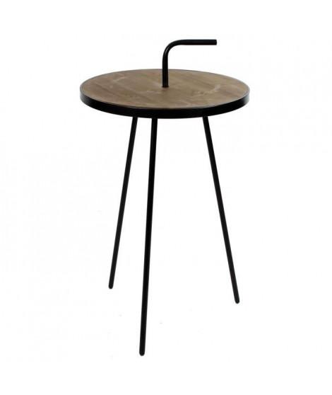 VIKA Bout de canapé rond - Vintage - Noir + plateau en bois naturel teinté - Ø 38 cm