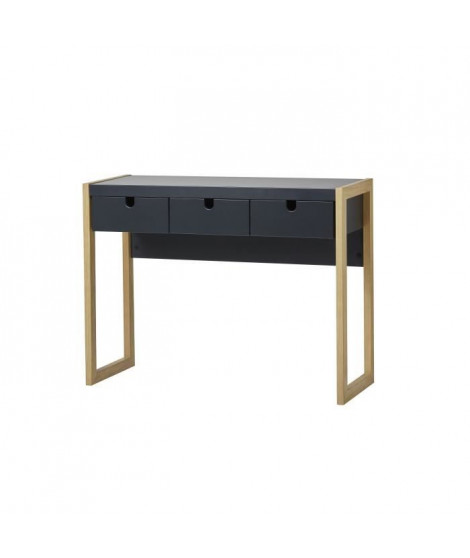 KARE Console 3 tiroirs - Décor chene et anthracite - L 101 x P 37 x H 77 cm