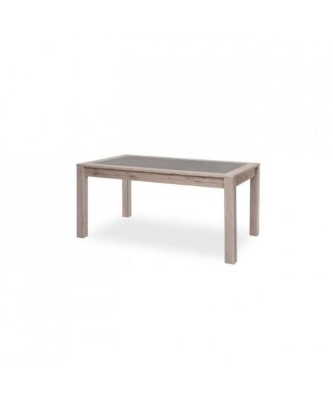 MALTA Table a manger 8 personnes - Décor Chene Sorrento et béton - Style contemporain - L 158 cm