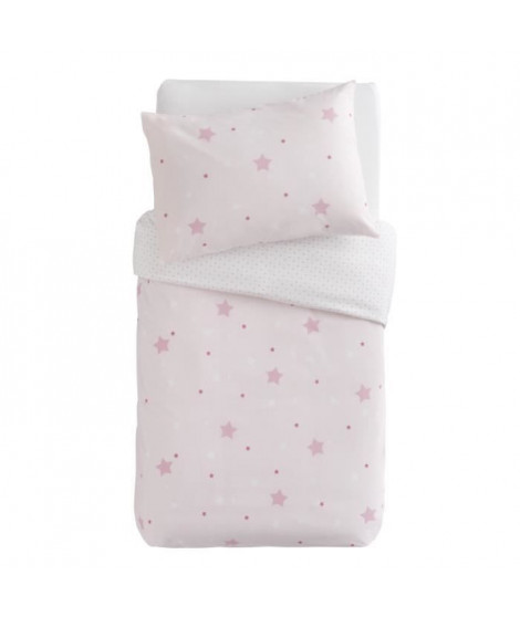 DOUX NID Parure Couette + Taie Little Stars Imprimé Etoiles Rose