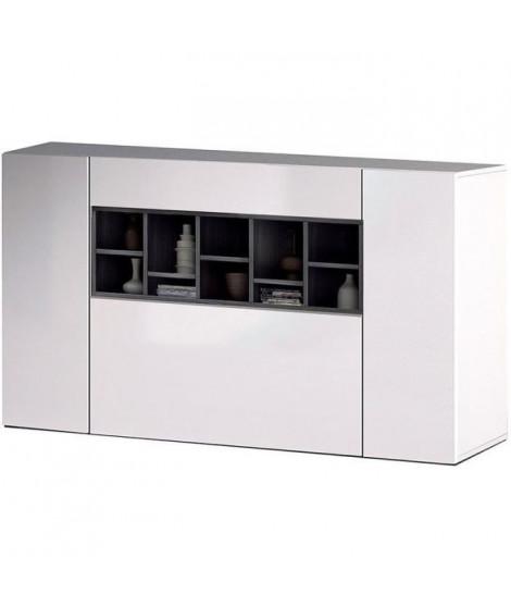 DECO Buffet bas contemporain blanc brillant et gris cendre - L 150 cm