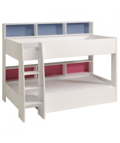 JIM Lit superposé enfant contemporain blanc megeve - Sommiers inclus - l 90 x L 200 cm