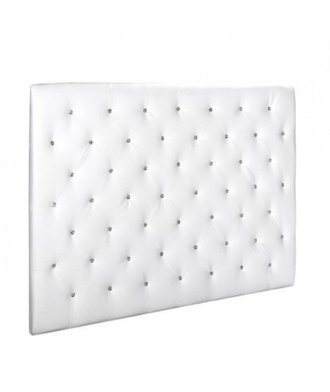 SOGNO Tete de lit capitonnée style contemporain - Simili blanc - Boutons cristal - L 160 cm