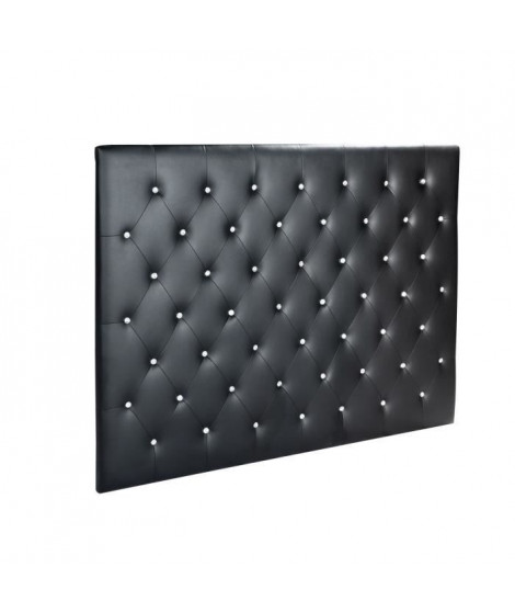 SOGNO Tete de lit capitonnée style contemporain - Simili noir - Boutons cristal - L 160 cm