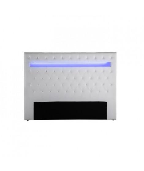 CELESTE Tete de lit avec LED style contemporain - Simili blanc - L 150 cm