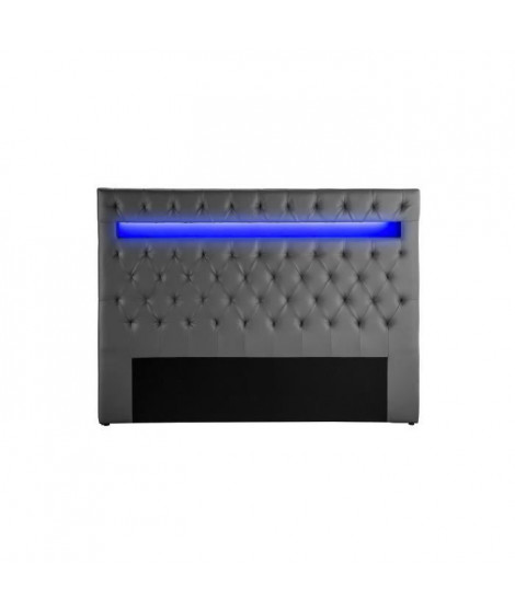 CELESTE Tete de lit avec LED style contemporain - Simili gris - L 150 cm