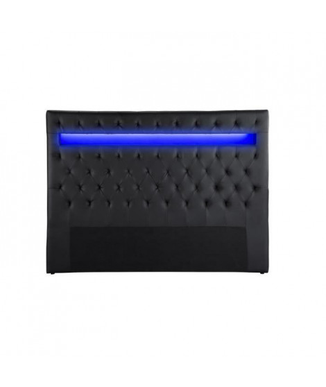 CELESTE Tete de lit avec LED style contemporain - Simili noir - L 170 cm