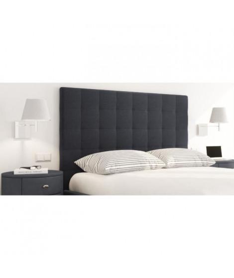 SOGNO Tete de lit capitonnée style contemporain - Tissu noir - L 140 cm