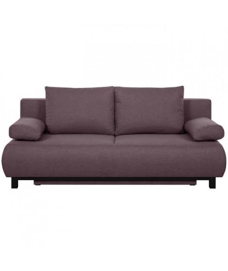 SHILO Banquette convertible 3 places - Tissu violet - Contemporain - L 192 x P 93 cm