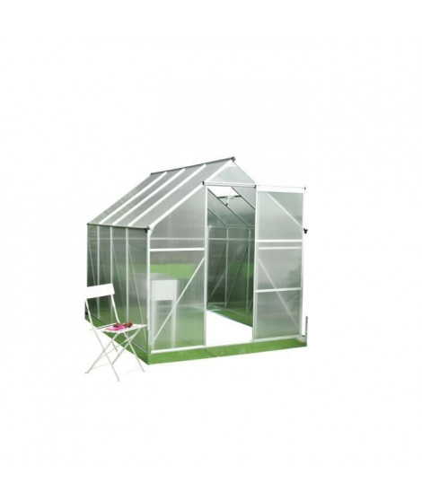 Serre de polycarbonate Jardin 4,8m² -  Structure aluminium et socle de fixation inclus - Transparent