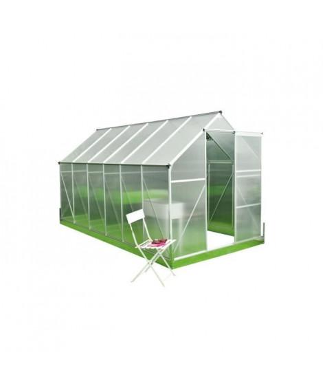 Serre de Jardin polycarbonate 7m² - Structure aluminium et socle de fixation inclus - Transparent
