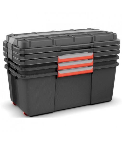 ABM Lot de 3 coffres malles Atlas - Taille L - Noir - Structure robuste - Capacité de charge de 80kg sur le couvercle
