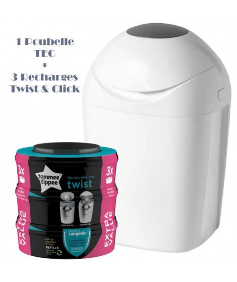 Tommee Tippee - Starter Pack - Poubelle a couche TEC + 3 recharges Twist & Click - Blanc