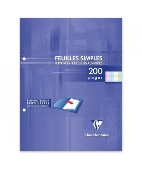 CLAIREFONTAINE - Feuilles simples couleurs - 4 couleurs - Perforées - 17 x 22 - 200 pages Seyes - Papier P.E.F.C 90G (Lot de 3)
