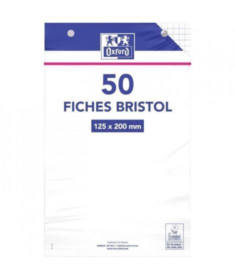 OXFORD 50 feuilles bristol - Petits carreaux perforées - Blanc - 20 cm x 12,5 cm x 0,5 cm (Lot de 3)