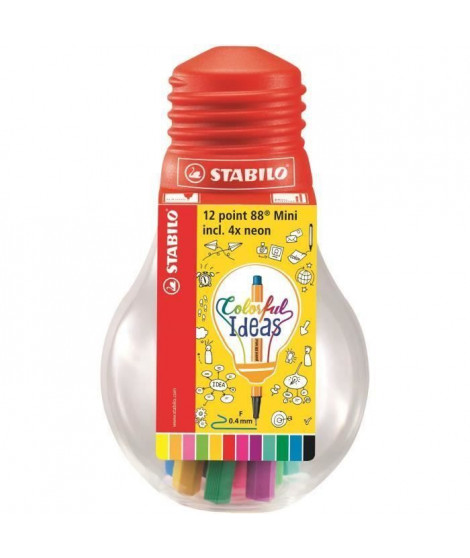 STABILO Ampoule de 12 stylos-feutres Colorful ideas - Point 88 Mini - Coloris assortis (Lot de 3)