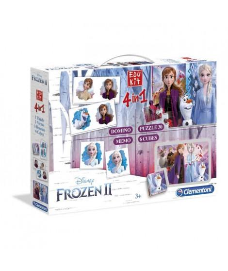 CLEMENTONI Edukit 4 en 1 - La Reine des Neiges 2 - Mémo, Domino, Puzzle et Cubes