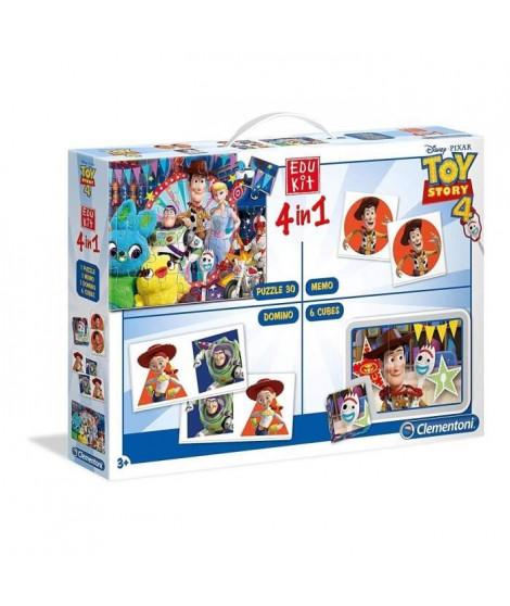 CLEMENTONI Edukit 4 en 1 - Toy Story 4- Mémo, Domino, Puzzle et Cubes