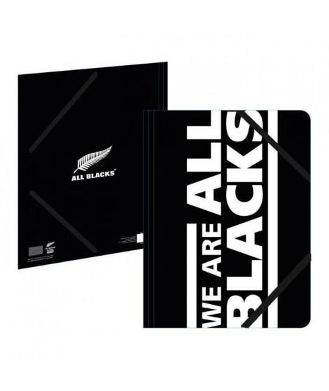 ALL BLACKS Chemise A4 193ALL108CHE - Carton - 3 rabats - Fermeture élastique - 24 x 32 cm