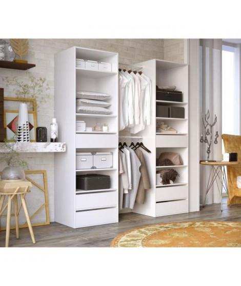 COMBIT Kit Dressing 2 colonne 2 penderies et 6 tiroirs - Blanc - L 117 x P 48 x H 200 cm