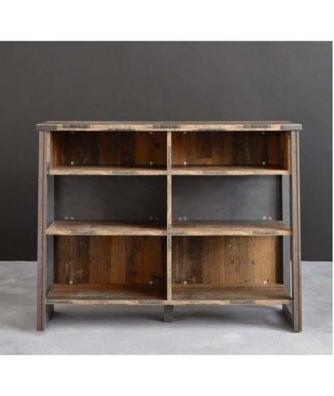 PRIME Meuble de bar - Décor bois patiné gris - L 140 cm