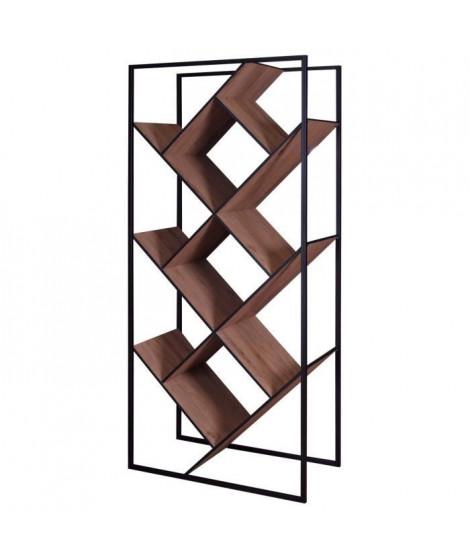 Bibliotheque style contemporain en métal décor noyer - L 79,6 cm