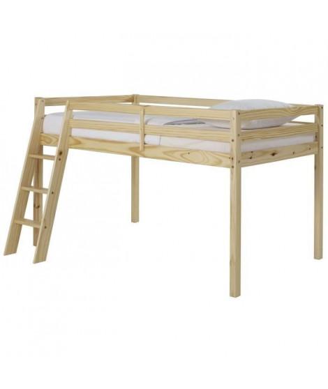 OUNA Lit mezzanine enfant contemporain en bois pin massif verni naturel - l 90 x L 190 cm