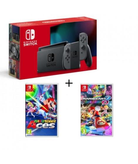 Pack Nintendo Switch Grise + Mario Tennis Aces + Mario Kart 8 Deluxe