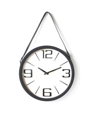 Horloge ronde - Métal et plastique - Ø 38 x épaisseur 6 cm - Noir