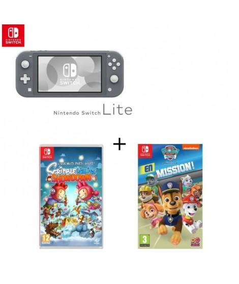 Console Switch Lite Grise + Jeu Switch Scribblenauts+ Pat'Patrouille