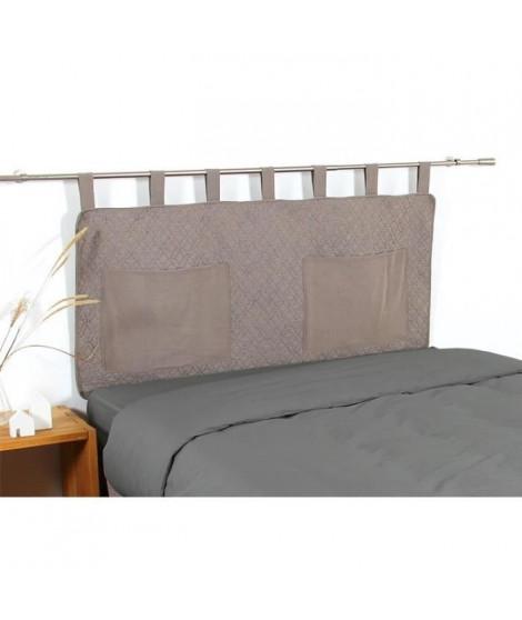 COTE DECO Tete de lit matelassée Microfibre lavée MOJI 160x65 cm - Beige