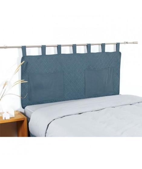 COTE DECO Tete de lit matelassée Microfibre lavée MOJI 160x65 cm - Bleu denim