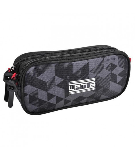 WATI B Trousse rectangle - 2 compartiments - 22 x 10 x 6 cm - 600D Polyester Doublure géométrique (Lot de 2)